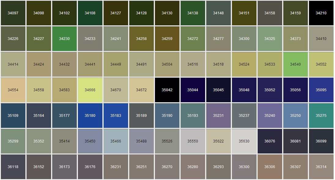 Federal Standard Color Chart Conversion